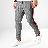/achat-pantalons-carreaux/lbo-pantalon-a-carreaux-jogger-avec-bandes-noir-et-rouge-586-gris-164780.html