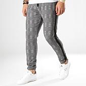 /achat-pantalons-carreaux/lbo-pantalon-a-carreaux-jogger-avec-bandes-noir-587-gris-164782.html