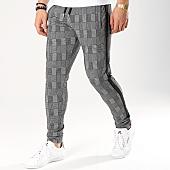 /achat-pantalons-carreaux/lbo-pantalon-a-carreaux-avec-bandes-noir-591-gris-164794.html