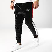 /achat-pantalons-joggings/charo-pantalon-jogging-avec-bandes-velours-velvet-noir-rouge-164850.html