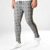 /achat-pantalons-carreaux/gianni-kavanagh-pantalon-a-carreaux-avec-bandes-gold-lurex-ribbon-gris-dore-165059.html