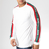 /achat-t-shirts-manches-longues/jack-and-jones-tee-shirt-manches-longues-avec-bandes-anton-blanc-vert-rouge-165127.html