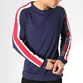 /achat-t-shirts-manches-longues/jack-and-jones-tee-shirt-manches-longues-avec-bandes-anton-bleu-marine-blanc-rouge-165129.html