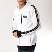 /achat-sweats-zippes-capuche/gianni-kavanagh-sweat-zippe-capuche-bandes-brodees-gkg000963-blanc-dore-165240.html