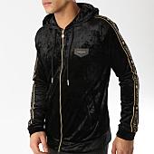 /achat-sweats-zippes-capuche/gianni-kavanagh-sweat-zippe-capuche-velours-bandes-brodees-gkg000888-noir-dore-165247.html