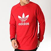 /achat-sweats-col-rond-crewneck/adidas-sweat-crewneck-trefoil-dx3615-rouge-blanc-166088.html