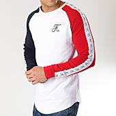 /achat-t-shirts-manches-longues/final-club-tee-shirt-manches-longues-tricolore-raglan-avec-bandes-et-broderie-161-bleu-blanc-rouge-166246.html