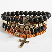 /achat-bracelets/icon-brand-lot-de-4-bracelets-barrier-thief-marron-noir-dore-166119.html