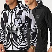 /achat-vestes/y-et-w-veste-zippee-capuche-reversible-echec-et-mat-noir-blanc-166204.html