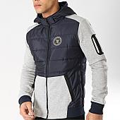/achat-sweats-zippes-capuche/geographical-norway-sweat-zippe-capuche-feritable-bleu-marine-gris-chine-166633.html