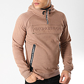 /achat-sweats-capuche/geographical-norway-sweat-capuche-col-zippe-gymsport-marron-chine-166642.html