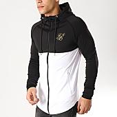 /achat-vestes/siksilk-veste-zippee-capuche-oversize-13640-noir-blanc-dore-166998.html