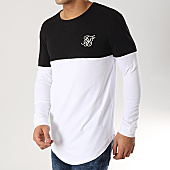 /achat-t-shirts-manches-longues/siksilk-tee-shirt-oversize-manches-longues-13794-blanc-noir-argente-167001.html