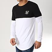 /achat-t-shirts-manches-longues/siksilk-tee-shirt-oversize-manches-longues-13794-blanc-noir-argente-167001.html