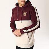 /achat-sweats-capuche/siksilk-sweat-capuche-avec-bandes-13724-bordeaux-beige-dore-167075.html