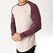 /achat-t-shirts-manches-longues/siksilk-tee-shirt-oversize-manches-longues-14335-bordeaux-beige-dore-167078.html