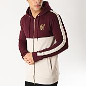 /achat-sweats-zippes-capuche/siksilk-sweat-zippe-capuche-avec-bandes-13723-bordeaux-beige-dore-167084.html