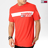 /achat-t-shirts/tommy-hilfiger-jeans-tee-shirt-box-logo-6089-rouge-167107.html