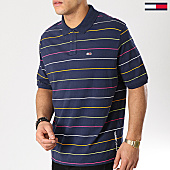 /achat-polos-manches-courtes/tommy-hilfiger-jeans-polo-manches-courtes-fine-stripe-6027-bleu-marine-167147.html
