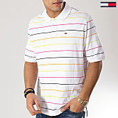 /achat-polos-manches-courtes/tommy-hilfiger-jeans-polo-manches-courtes-fine-stripe-6027-blanc-167149.html