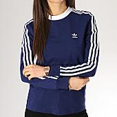 /achat-t-shirts-manches-longues/adidas-tee-shirt-manches-longues-femme-3-stripes-dv2603-bleu-marine-blanc-167324.html