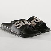 /achat-claquettes-sandales/superdry-claquettes-femme-glitter-pool-gf3109st-noir-167458.html