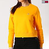 /achat-sweats-col-rond-crewneck/tommy-hilfiger-jeans-sweat-crewneck-crop-femme-side-seam-6123-orange-167315.html