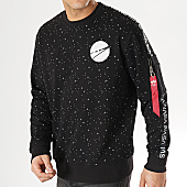 /achat-sweats-col-rond-crewneck/alpha-industries-sweat-crewneck-poche-bomber-avec-bandes-nasa-noir-167867.html