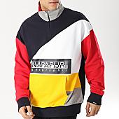 /achat-sweats-col-zippe/napapijri-sweat-col-zippe-bek-n0yied-bleu-marine-rouge-jaune-blanc-167845.html