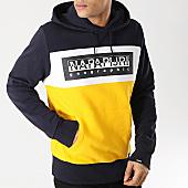/achat-sweats-capuche/napapijri-sweat-capuche-bek-n0yim9-jaune-bleu-marine-blanc-167847.html