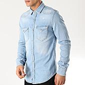 /achat-chemises-manches-longues/grj-denim-chemise-jean-manches-longues-13550-bleu-denim-168006.html