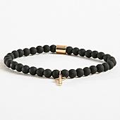 /achat-bracelets/chained-and-able-bracelet-cross-slim-beaded-bb17095-noir-dore-168337.html