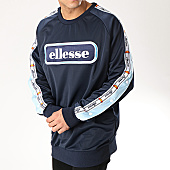 /achat-sweats-col-rond-crewneck/ellesse-sweat-crewneck-bandes-brodees-toppa-popped-tapped-sha06254-bleu-marine-168363.html