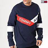 /achat-sweats-col-rond-crewneck/tommy-hilfiger-jeans-sweat-crewneck-chevron-6041-bleu-marine-168536.html