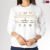 /achat-sweats-col-rond-crewneck/tommy-hilfiger-jeans-sweat-crewneck-femme-metallic-6129-blanc-dore-168562.html