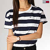 /achat-t-shirts/tommy-hilfiger-jeans-tee-shirt-crop-femme-stripe-boxy-6260-bleu-marine-blanc-168567.html