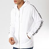 19fc9f598f4d Calvin Klein - Sweat Zippé Capuche Avec Bandes Institut Stripe 2249 Blanc