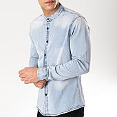 /achat-chemises-manches-longues/frilivin-chemise-jean-manches-longues-col-mao-ca-517-bleu-wash-168833.html