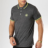 /achat-polos-manches-courtes/american-people-polo-manches-courtes-suzanne-gris-anthracite-chine-jaune-fluo-169074.html