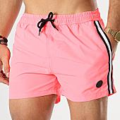 /achat-maillots-de-bain/american-people-short-de-bain-avec-bandes-surfing-rose-fluo-169078.html