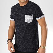 /achat-t-shirts-poche/deeluxe-tee-shirt-poche-floral-shamar-bleu-marine-blanc-168846.html