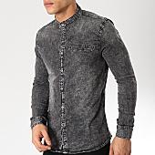 /achat-chemises-manches-longues/frilivin-chemise-jean-manches-longues-col-mao-ca-607-noir-168836.html