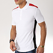 /achat-polos-manches-courtes/ikao-polo-manches-courtes-avec-bandes-f412-blanc-169249.html