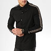 /achat-chemises-manches-longues/ikao-chemise-manches-longues-avec-bandes-f483-noir-leopard-169428.html