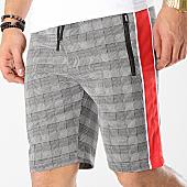 /achat-shorts-jogging/zayne-paris-short-jogging-a-carreaux-avec-bandes-md06-noir-blanc-rouge-169242.html