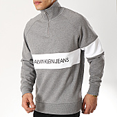 /achat-sweats-col-zippe/calvin-klein-sweat-col-zippe-institutional-logo-1250-gris-chine-169983.html