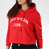 /achat-sweats-capuche/calvin-klein-sweat-capuche-crop-femme-institutional-logo-0686-rouge-170065.html