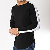 /achat-t-shirts-manches-longues/frilivin-tee-shirt-manches-longues-oversize-avec-bandes-6674-noir-blanc-170159.html