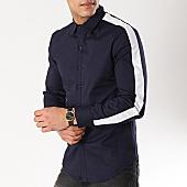 /achat-chemises-manches-longues/frilivin-chemise-manches-longues-avec-bandes-bm1069-bleu-marine-blanc-170254.html
