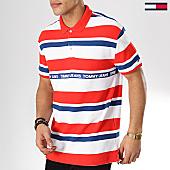 /achat-polos-manches-courtes/tommy-hilfiger-jeans-polo-manches-courtes-multi-stripes-6023-rouge-blanc-bleu-marine-170141.html